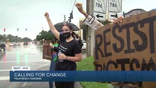 Crowds march in Palm Beach Gardens calling for change