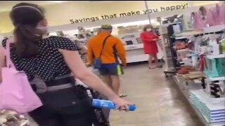 Woman Showers Child With Lysol While Shopping