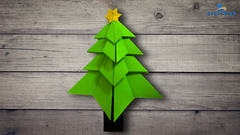 Christmas paper tree origami | Origami Christmas decorations | Lina's Craft Club