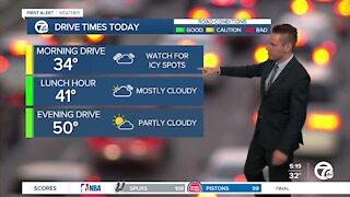 Metro Detroit Forecast: Slick morning roads; mild afternoon