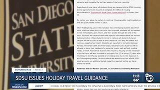 SDSU issues holiday travel guidance