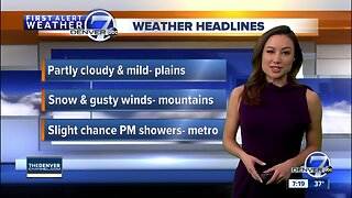 Mountain snow Sunday, a few showers over the plains
