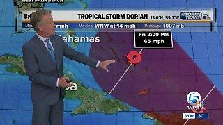 Tropical Storm Dorian nearing Barbados