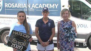 Rosarian Academy faculty deliver graduation gowns to students