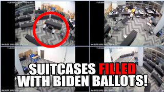 """Suitcases FILLED with BALLOTS Pulled from UNDER TABLE After """"Pipe Burst"""" - Georgia Voter Fraud Video"""