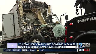 Three-vehicle crash shuts down I-95 in Savage