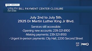 Utility payment center closed for holiday