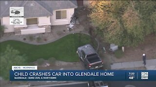 Child drives truck into Glendale home