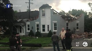 Checking out damage in Armada after a possible tornado