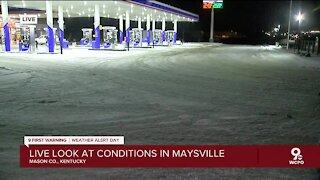 Slick roads in Maysville