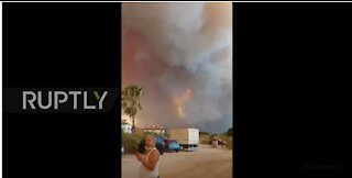 Turkey: Clouds of smoke from wildfire turn sky orange in Manavgat