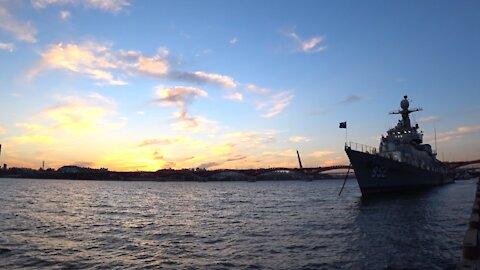 Beautiful sunset & eveningglow at Hangang river in Seoul, South Korea