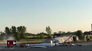 Camper crash shuts down highway in Whitewater
