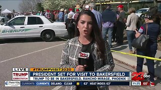 Invited guests enter President Trump's event