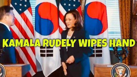 Kamala Harris wipes hand after handshake with S.Korean President