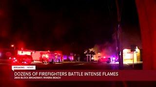 Dozens of firefighters battle intense flames in Riviera Beach