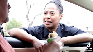 Hungry police woman