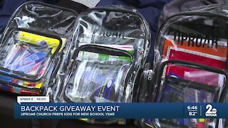 Local church host backpack giveaway for Connect Sunday