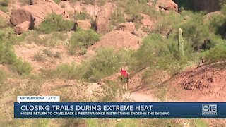 Phoenix hiking trails closed during extreme heat
