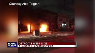 Fire rips through apartment building on Detroit's west side