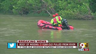 Missing teen's body recovered from Little Miami River