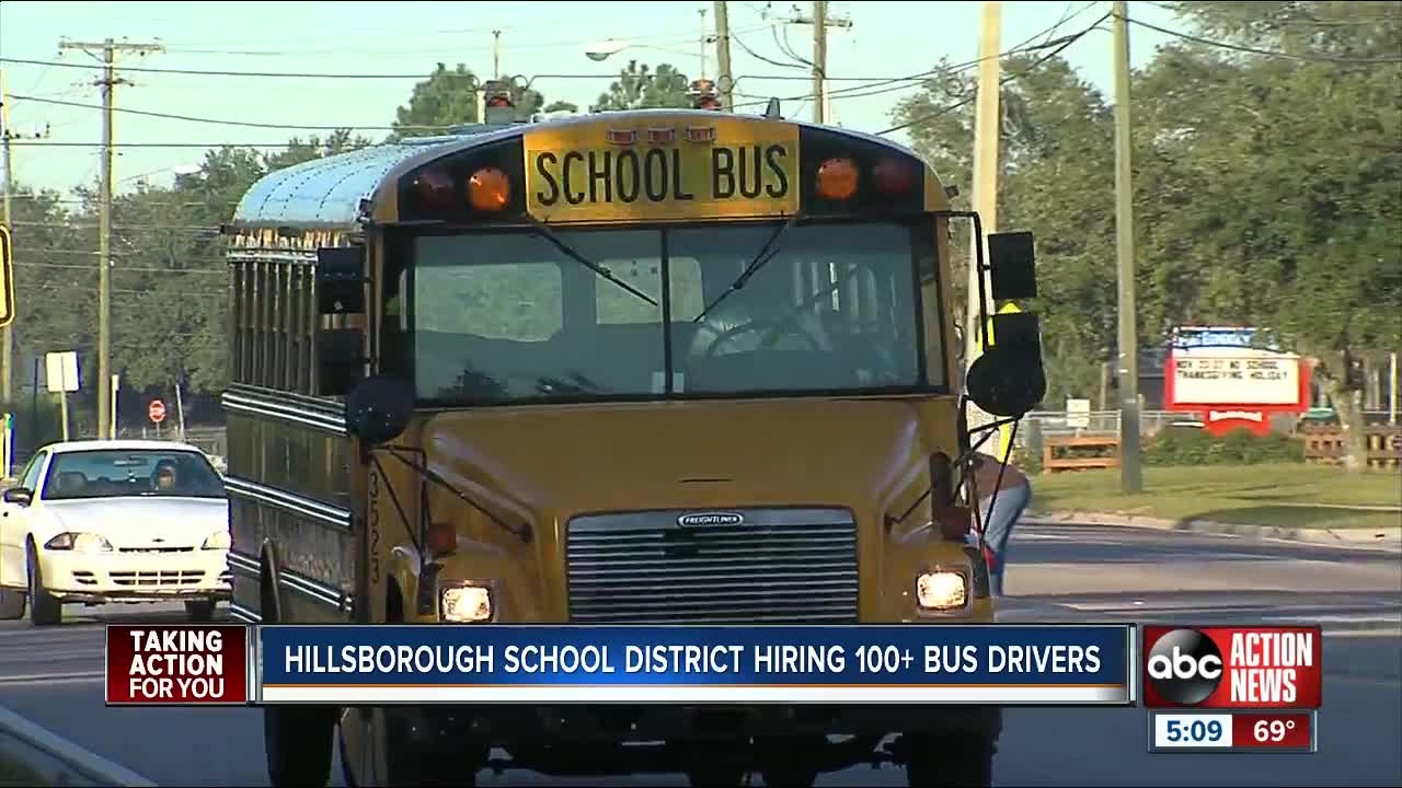 Hillsborough County Schools hiring more than 120 bus drivers