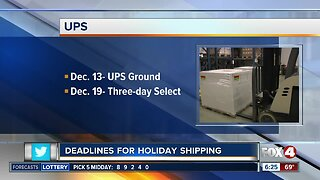 Deadlines approaching for holiday shipping