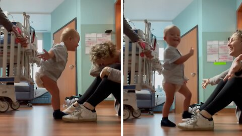 Toddler with down syndrome walks to mom after open heart surgery