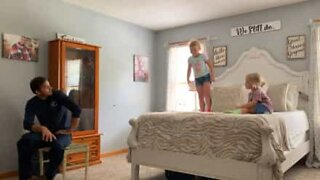 Girl tries front flip, lands head first on the floor