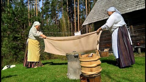 Ironing on a pole in the 19th century.