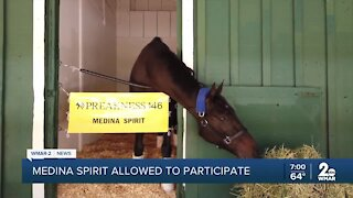 Medina Spirit will be allowed to run in Saturday's Preakness Stakes