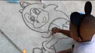 Five-year-old artist has impressive drawing skills