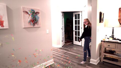 Confetti Canon in Slow Motion ~ House MESS!