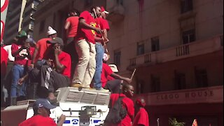 UPDATE 1 - Protesters at Saftu march mock President Ramaphosa (vb8)