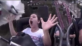 Bird collides with girl on roller coaster