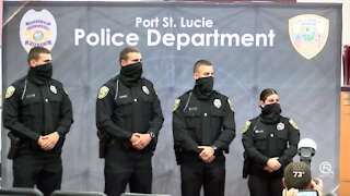 Identical twins among 4 new Port St. Lucie police officers sworn in