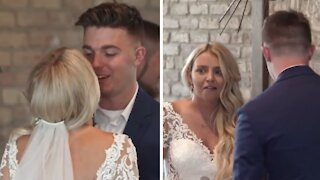 Bride eagerly kissed groom before he vows are complete