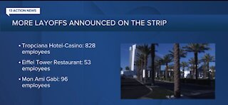 Tropicana Las Vegas laying off more than 800 employees