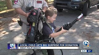 Local boy gets Ghostbusters-themed surprise for his donation
