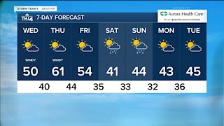Warming trend begins Wednesday with highs near 50, continues through the week