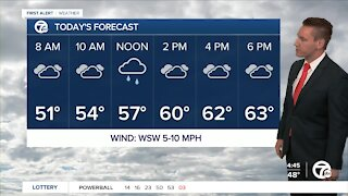 Metro Detroit Forecast: Showers today; temperatures still above average.