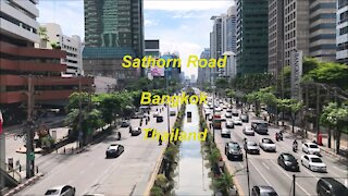 Sathorn road in Bangkok, Thailand
