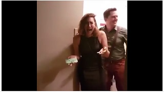 Woman sobs uncontrollably for her surprise birthday party