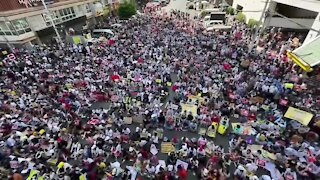 Myanmar citizens protest military coup that overthrew elected leader