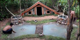 Build Secret Underground Swimming Pool House And Beautiful Waterfall Fish Pond