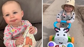 Baby learns how to smack her lips, can't stop doing it