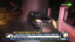 Car slams into fire hydrant, driver arrested