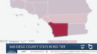 San Diego County stays in red tier