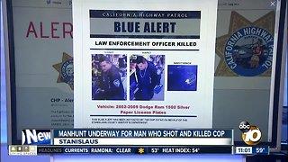 Manhunt underway for man who shot officer