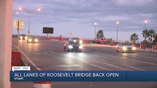 All lanes on Roosevelt Bridge reopen ahead of schedule in Stuart